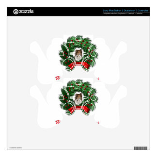 Happy Collie-days Wreath PS3 Controller Skin