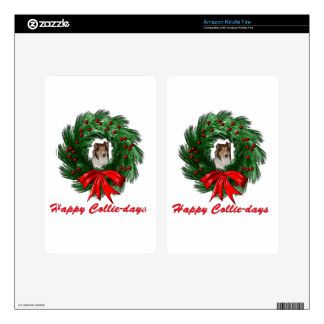 Happy Collie-days Wreath Skin For Kindle Fire