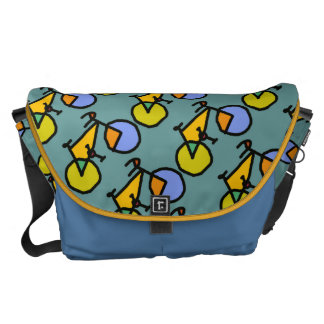 happy color bikes pattern messenger bags