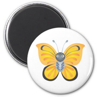 Happy Colorful Butterfly Cartoon 2 Inch Round Magnet