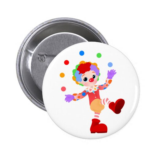Happy Colorful Clown Boy Juggling Colorful Balls Buttons