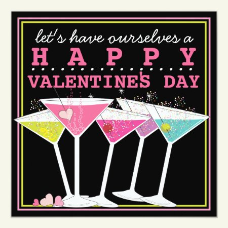 Happy Colorful Cocktails Valentines Day Party Card