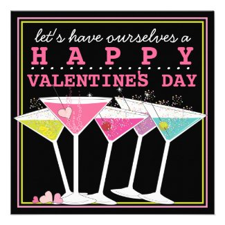 Happy Colorful Cocktails Valentine's Day Party Announcements