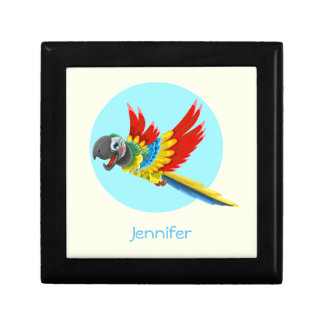 Happy colorful parrot cartoon jewelry box