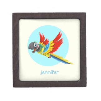 Happy colorful parrot cartoon keepsake box