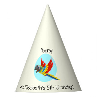 Happy colorful parrot cartoon kids birthday party hat