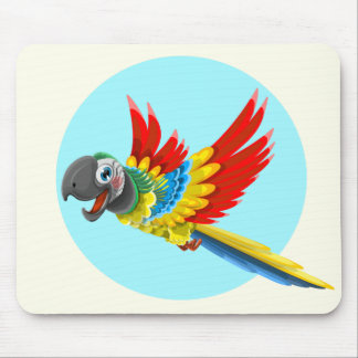 Happy colorful parrot cartoon kids mouse pad