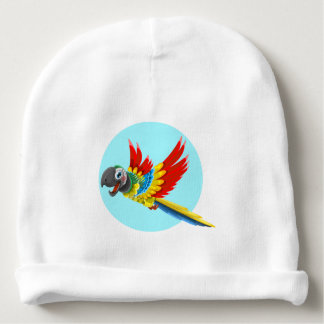 Happy colorful parrot cartoon name baby beanie