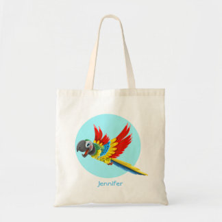 Happy colorful parrot cartoon tote bag