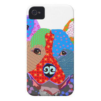 Happy Colorful Patchwork Pitbull Dog iPhone 4 Case