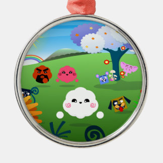 Happy Colorful Planet 01 Metal Ornament