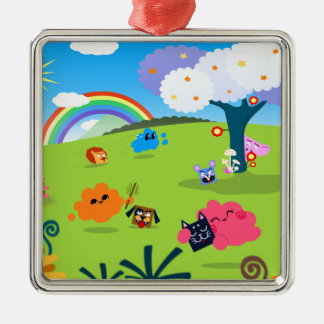 Happy Colorful Planet 02 Metal Ornament