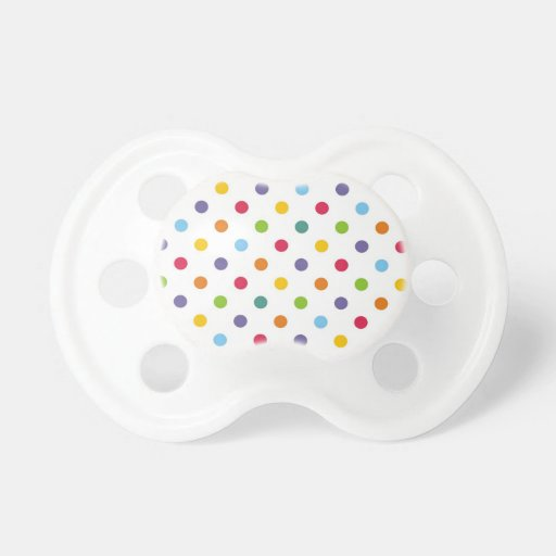 Happy colorful polka dots baby pacifier