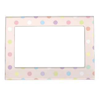 Happy colorful polka dots kids pattern magnetic photo frame