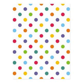 Happy colorful polka dots postcard