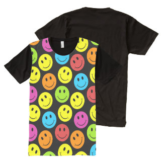 Happy Colorful Smiley Faces Pattern All-Over Print Shirt