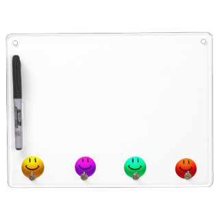 HAPPY COLORFUL SMILEYS SMILEY FACES KEYHOLDER BOAR DRY ERASE BOARD WITH KEYCHAIN HOLDER
