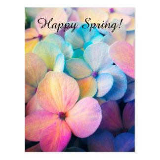 Happy Colorful Spring Flowers Postcard