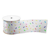 happy colorful sprinkle pattern satin ribbon