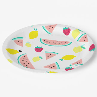 happy colorful summer fruits paper plate