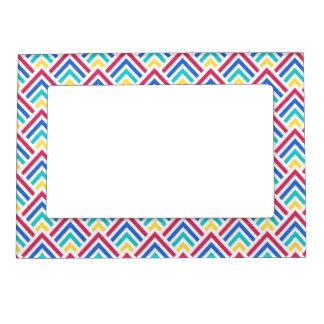 Happy Colors Geometric Chevron ZigZag Pattern Magnetic Frame
