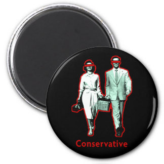 Happy Conservative Couple 2 Inch Round Magnet