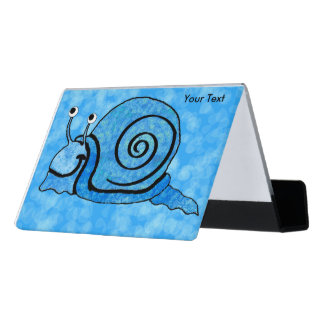 Happy Cool Blue Patterned Snail big Round eyes Desk Business Card Holder