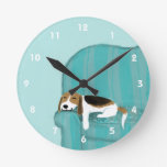 Happy Couch Beagle - Cute Dog Design Round Wall Clock