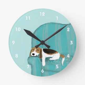 Happy Couch Beagle - Cute Dog Design Wallclock