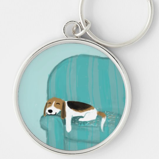 Happy Couch Beagle Keychain
