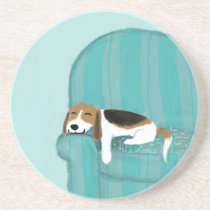 Happy Couch Dog - Cute Beagle Coaster