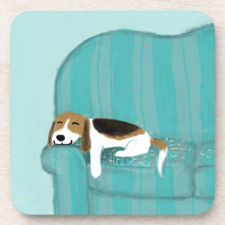 Happy Couch Dog - Cute Beagle Drink Coaster