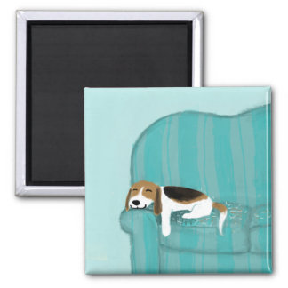 Happy Couch Dog - Cute Beagle Refrigerator Magnet