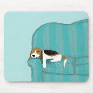 Happy Couch Dog - Cute Beagle Mouse Pad