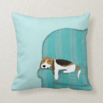 Happy Couch Dog - Cute Beagle Relaxing Throw Pillow
