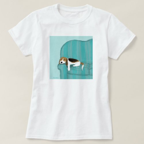 Happy Couch Dog  Cute Relaxed Beagle  Animal Art T_Shirt