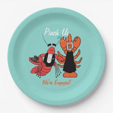 Happy Couple Engagement Crawfish Boil Party Plates