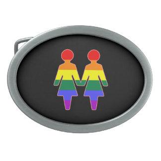 Happy Couple of Gals Oval Belt Buckle