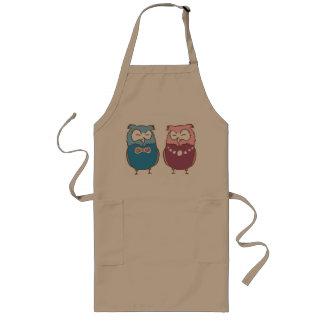 Happy couple owls long apron