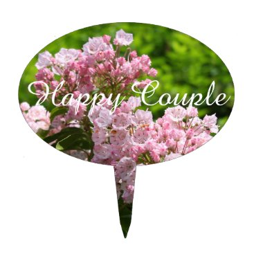 Bride Themed Happy Couple Pink Mountain Laurel Flowers Cake Topper