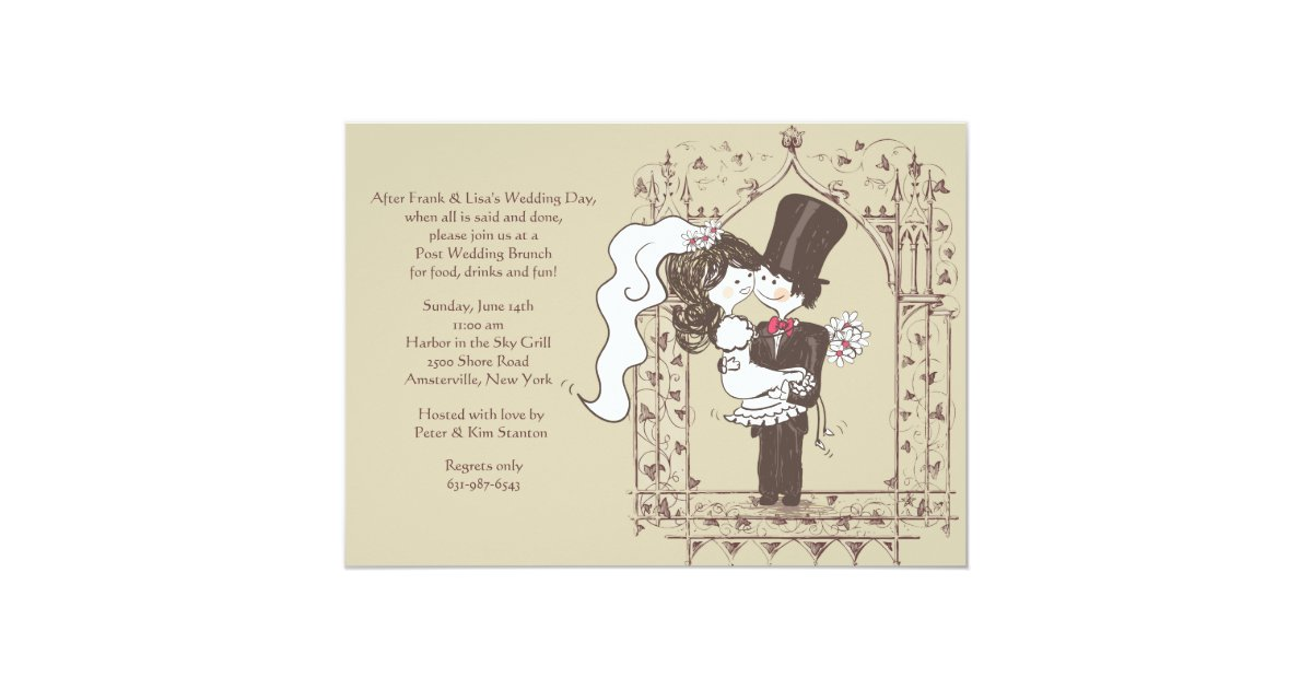Post Wedding Brunch Invitation Wording: Happy Couple Post Wedding Brunch Invitation
