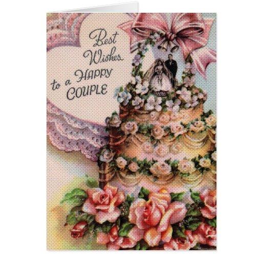 Happy Couple Wedding Cake Greeting Card
