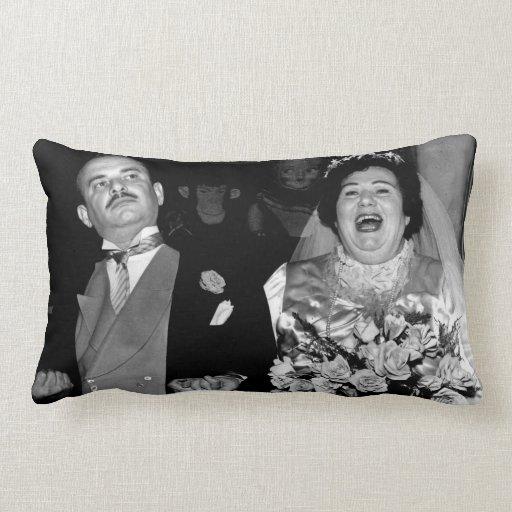 Happy Couple Wedding Day Vintage Portrait Pillow