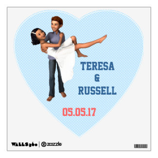 Happy Couple: White Dress and Denim (Personalized) Wall Sticker