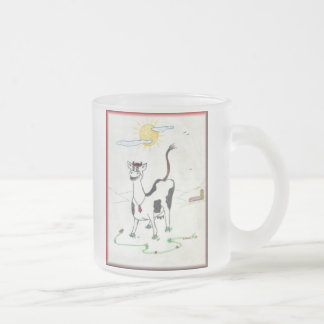 Happy Cow 10 Oz Frosted Glass Coffee Mug