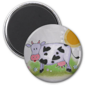 happy cow 2 inch round magnet