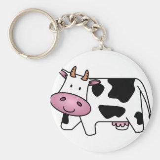 Happy Cow Basic Round Button Keychain