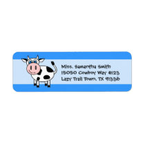Happy Cow Blue Return Address Labels
