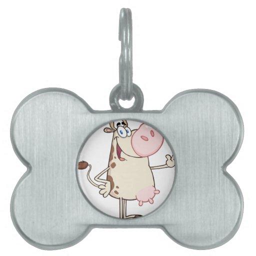 Happy Cow Cartoon Mascot Pet Name Tag