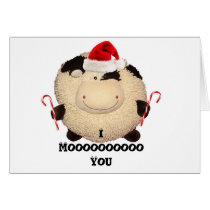 Happy Cow Christmas Card Postcard I Love You